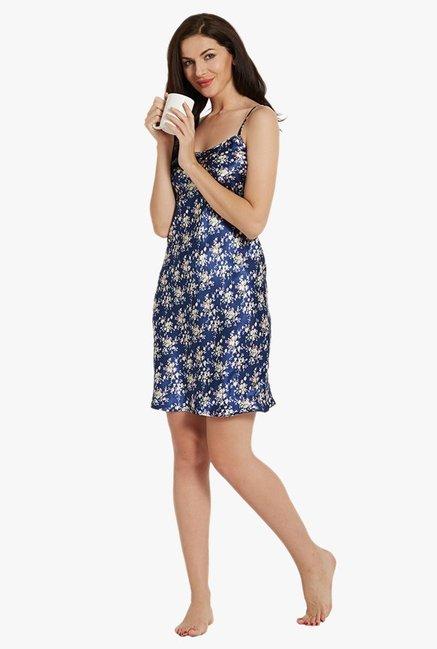 993884b348a Buy Blush By PrettySecrets Blue Floral Print Chemise for Women ...