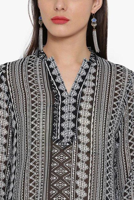 Desi Fusion Black Printed Georgette Top
