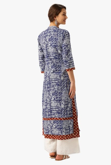 Desi Fusion Blue Printed Cotton Straight Kurta
