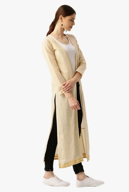 Desi Fusion Off White & Beige Striped South Cotton Shrug