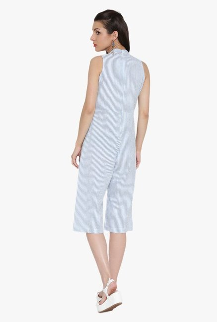 Desi Fusion White & Blue Striped Cotton Jumpsuit