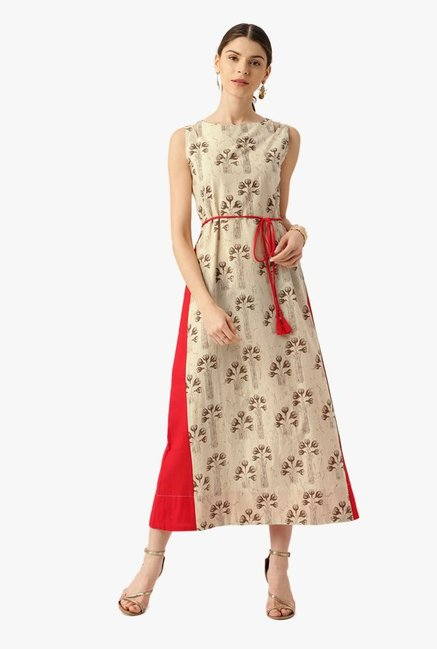 Desi Fusion Beige Floral Print Cotton A-Line Dress
