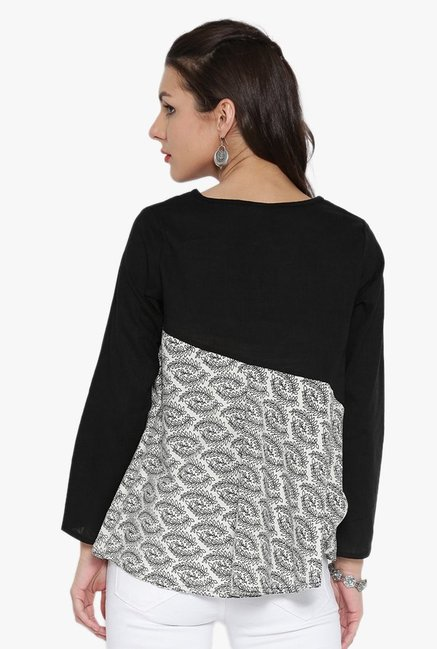 Desi Fusion Black & White Printed Cotton Top