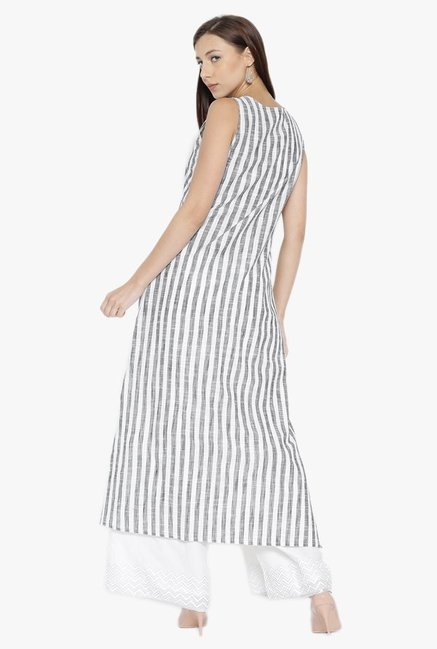 Desi Fusion White & Grey Striped Cotton High-Low Kurta