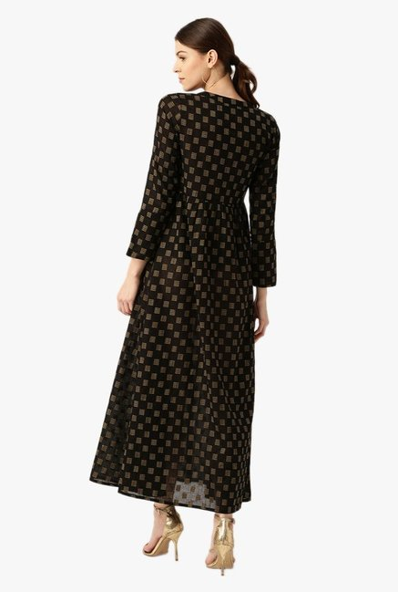 Desi Fusion Black Printed Cotton A-Line Dress