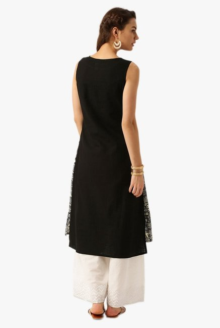 Desi Fusion Black & Grey Printed Cotton A-Line Kurta