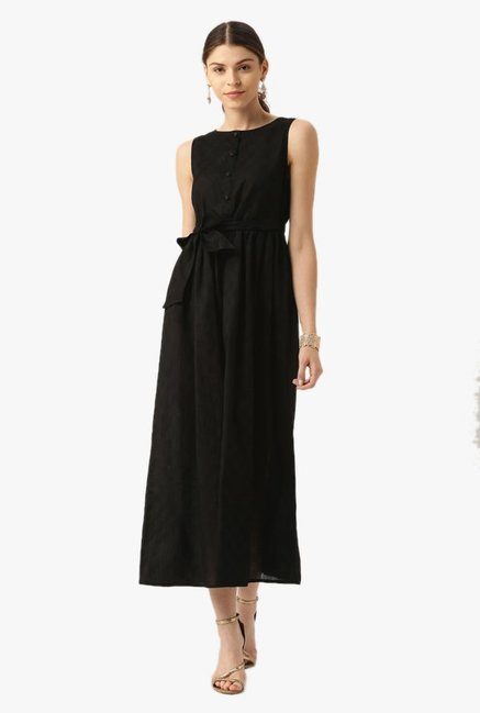 Desi Fusion Black Cotton A-Line Dress