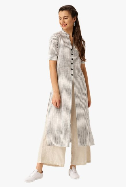 Desi Fusion Black & White Striped Cotton Kurta