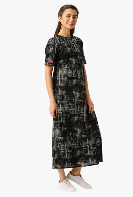 Desi Fusion Black Printed Cotton Maxi Dress