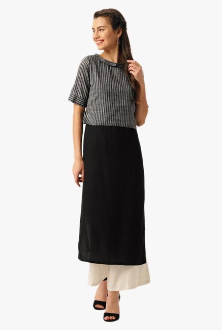 Desi Fusion Black & Grey Striped Cotton Kurta With Jacket