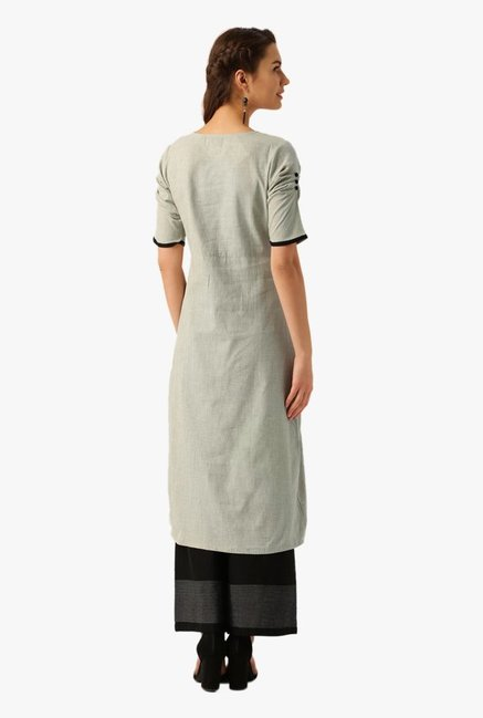 Desi Fusion Grey Textured Cotton A-Line Kurta