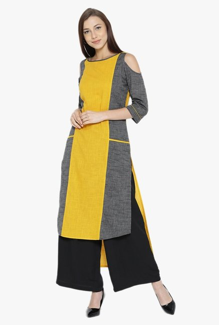 Desi Fusion Yellow & Grey Textured Cotton Straight Kurta