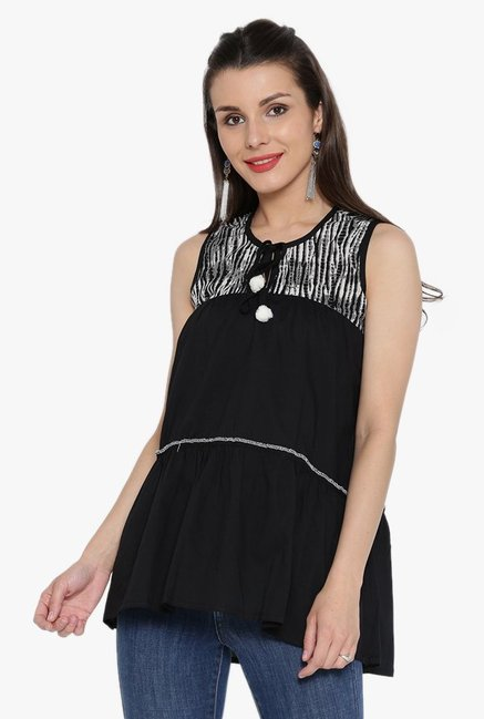 Desi Fusion Black Cotton Top