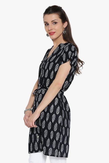 Desi Fusion Black Block Print Cotton Top