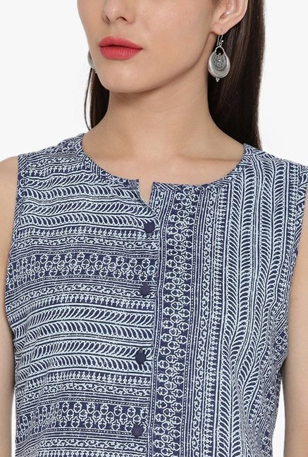 Desi Fusion Blue Printed Cotton Top