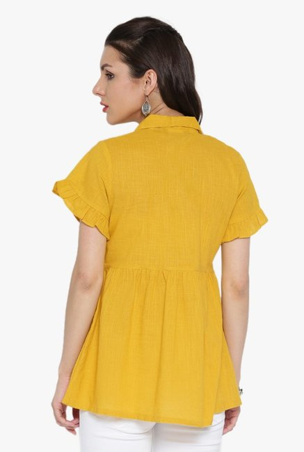 Desi Fusion Yellow Textured Cotton Top
