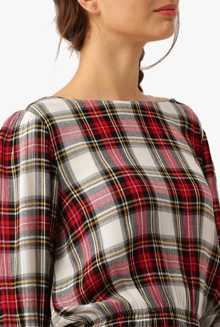 Desi Fusion Red & Off White Checks Rayon Top