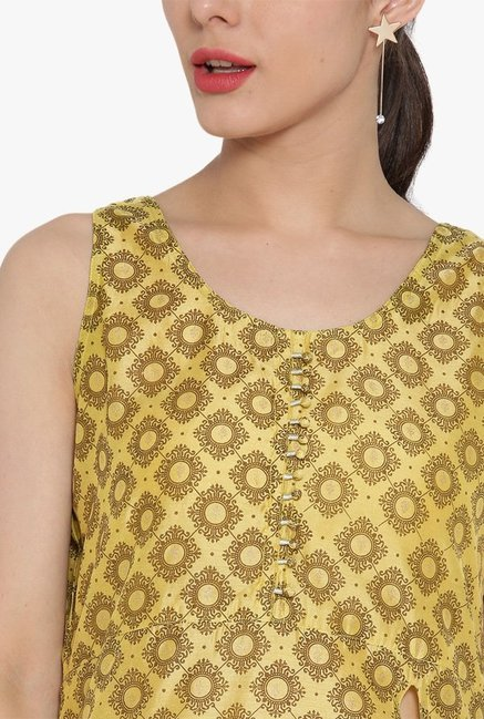 Desi Fusion Yellow Printed Cotton A-Line Kurta
