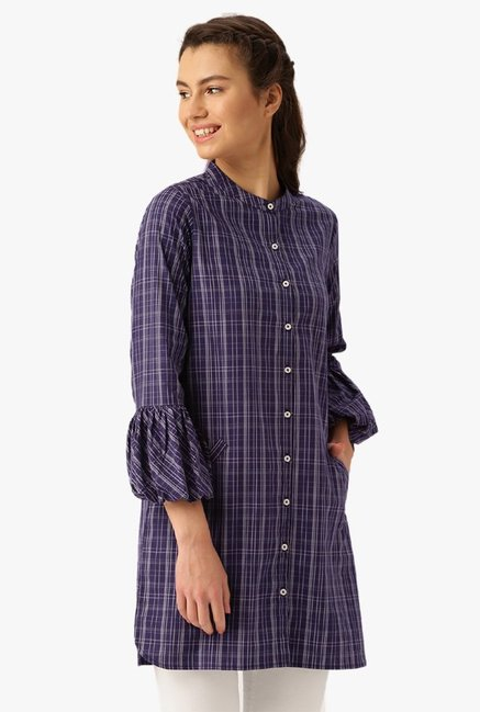 Desi Fusion Purple Checks Cotton Top