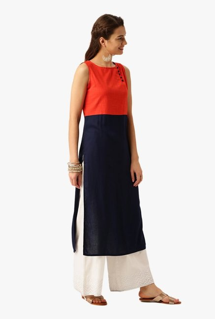Desi Fusion Navy & Orange Cotton Kurta
