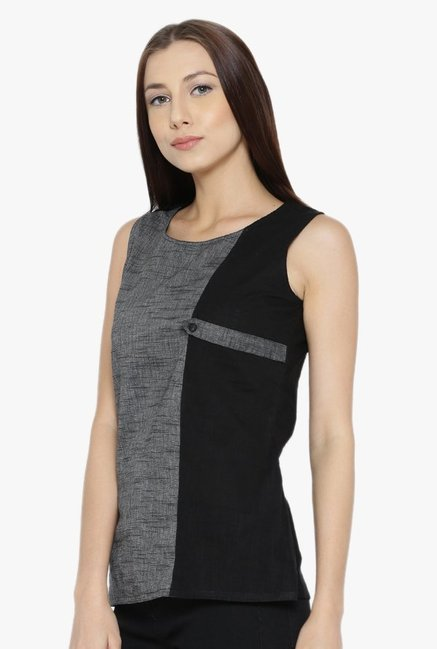 Desi Fusion Grey & Black Textured Cotton Top