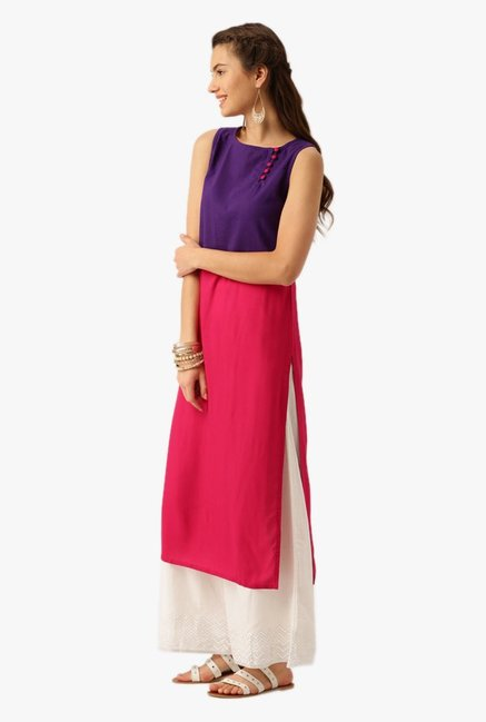 Desi Fusion Purple & Pink Cotton Kurta