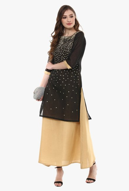 Ziyaa Black Printed Chanderi Double Layered A-Line Kurti