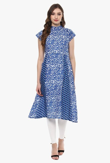 Ziyaa Ink Blue Printed Cotton A-Line Kurta