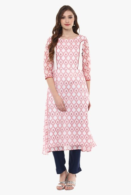 Ziyaa White & Red Printed Chanderi A-Line Kurta