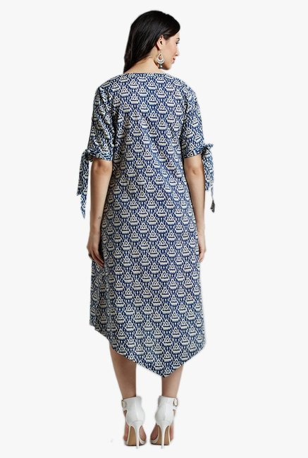 Desi Fusion Blue & Pink Printed Cotton Dress With Shrug