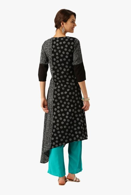 Desi Fusion Black & Sea Green Cotton Kurta with Palazzo