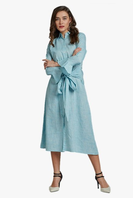 Desi Fusion Blue Textured Cotton Flex Dress With Belt