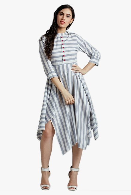 Desi Fusion White & Blue Striped Cotton Dress