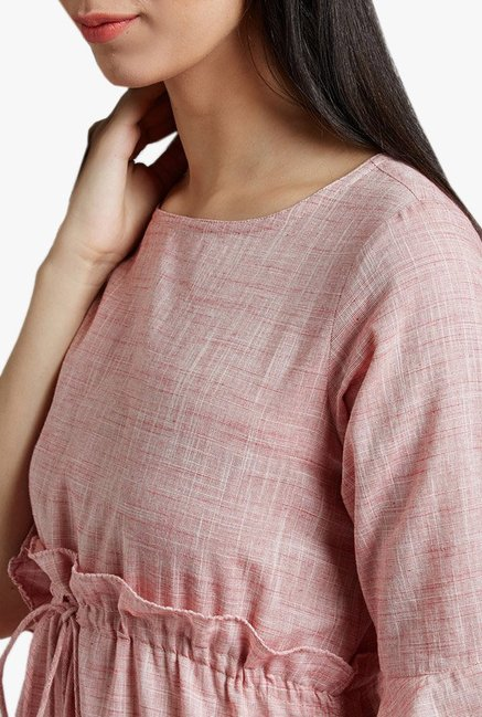 Desi Fusion Pink Textured Cotton Dress