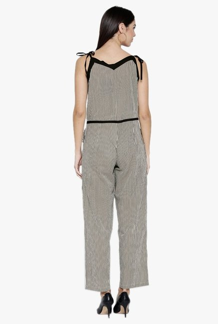 Desi Fusion Beige Striped Cotton Jumpsuit