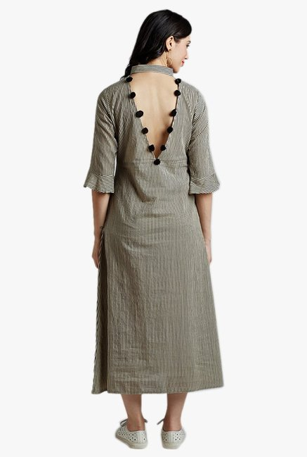 Desi Fusion Cream & Black Striped Cotton Dress