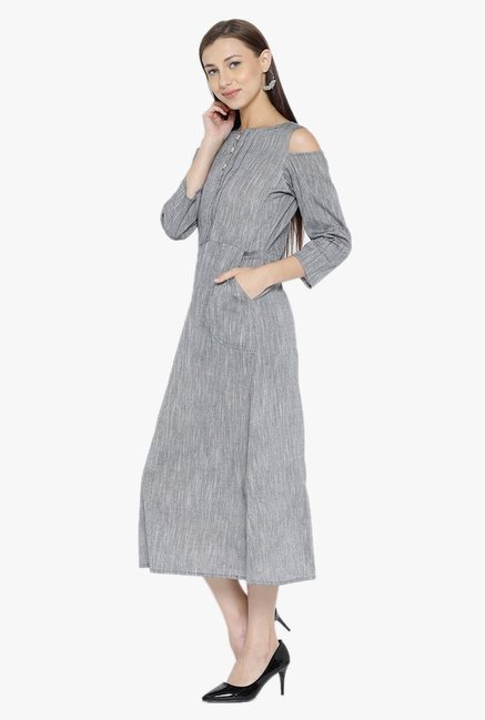 Desi Fusion Grey Textured Cotton A-Line Dress