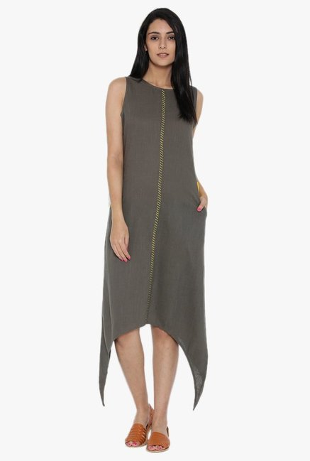 Desi Fusion Grey Textured Cotton Dress