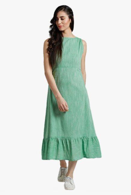 Desi Fusion Green Textured Cotton Dress
