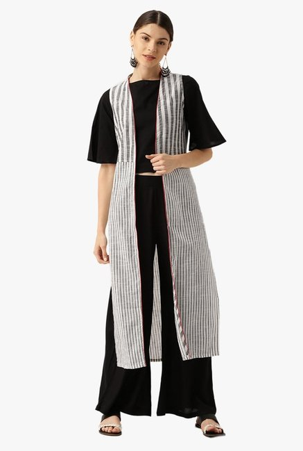 Desi Fusion Black & White Cotton Top with Jacket & Palazzo