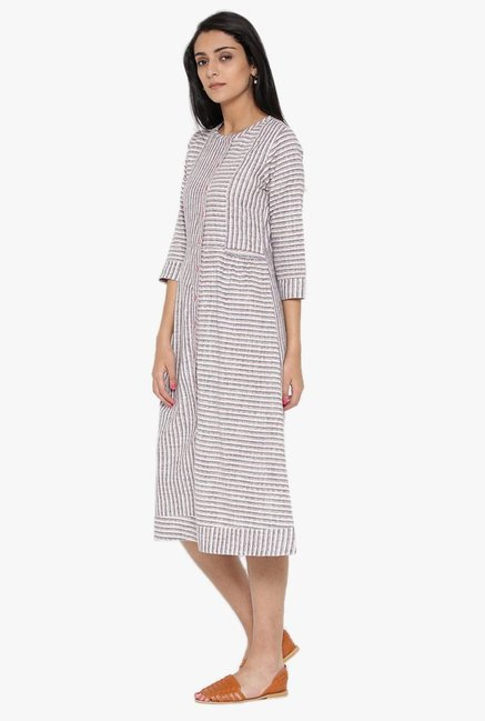 Desi Fusion White & Grey Striped Cotton Dress