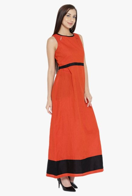 Desi Fusion Orange Printed Cotton Maxi Dress
