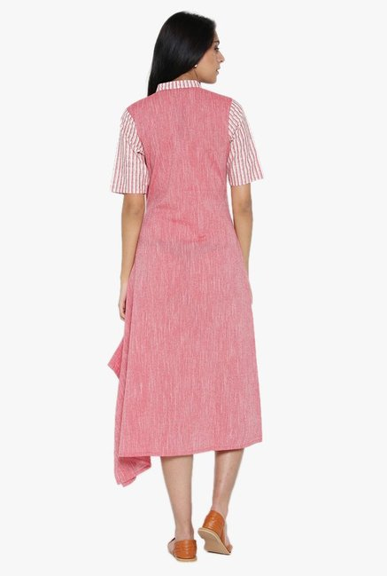 Desi Fusion White & Pink Striped Cotton Dress