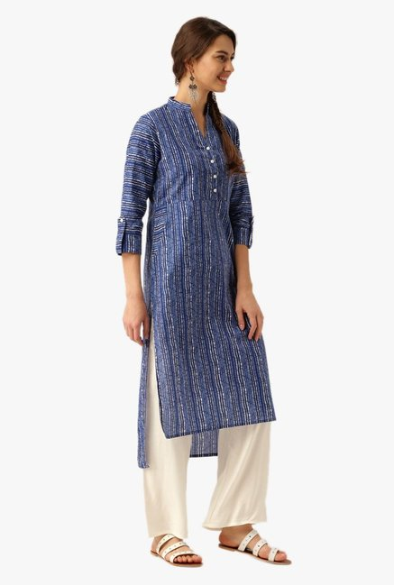 Desi Fusion Indigo & Off White Cotton Kurta with Palazzo