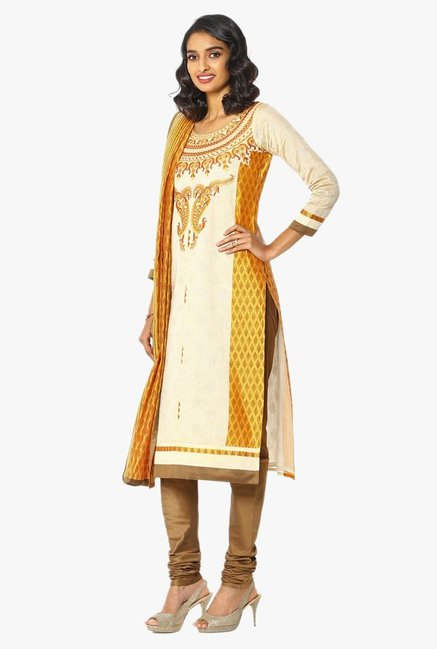 Soch Beige & Yellow Embroidered Chanderi Churidar Suit