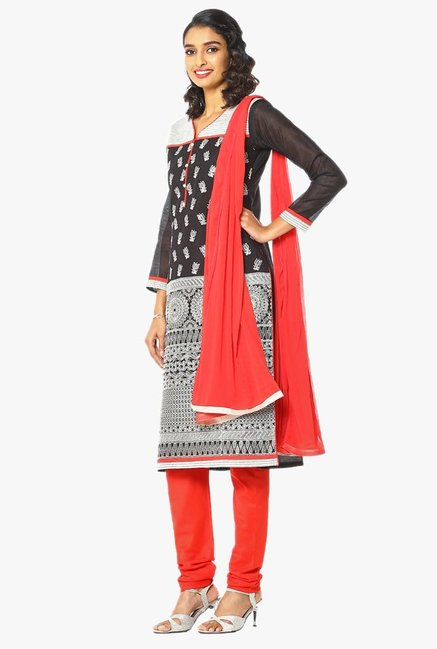Soch Grey & Red Embroidered Chanderi Churidar Suit