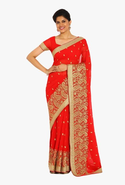 Soch Red Embroidered Georgette Saree