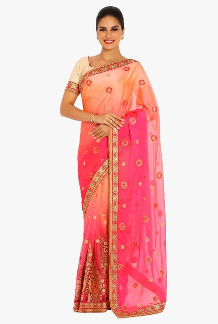 Soch Pink & Peach Embroidered Chiffon Saree