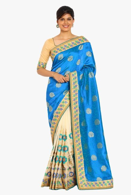 Soch Beige & Blue Embroidered Silk Half & Half Saree