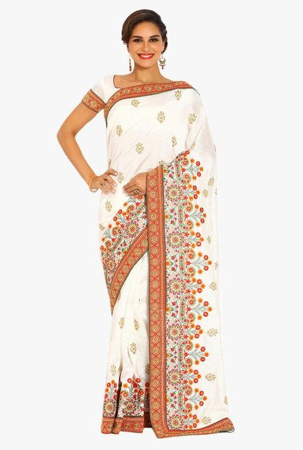 Soch White Embroidered Silk Saree